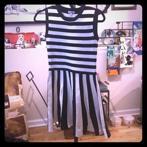 Black and White striped Kling fit and flare dress